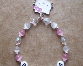 New Baby Child Pink Hello Kitty Charm Custom Personalized Pink Name Bracelet
