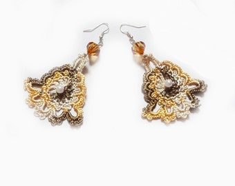 Crochet Earrings Crochet Jewelry in White, Gold Yellow and Brown
