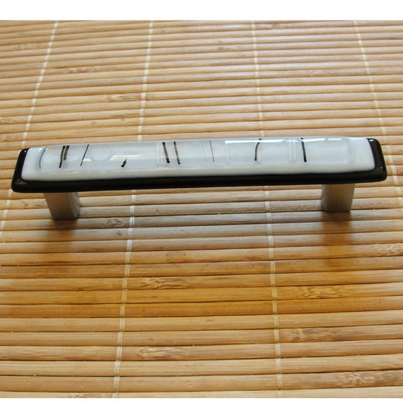 Fused glass drawer pull cabinet pulls black and white by for Asian furniture hardware drawer pulls