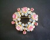 Vintage Austrian Pink and Blue Crystal Rhinestone Flower Brooch