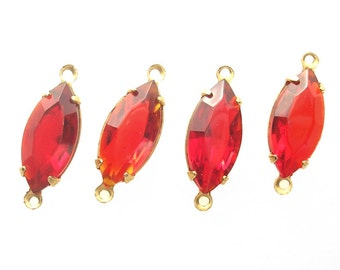 Four Piece Set of Siam Ruby Red Czech Glass Navettes in Brass Connector Settings