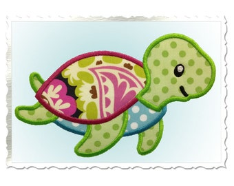 Cute Sea Turtle Applique Machine Embroidery Design - 4 Sizes