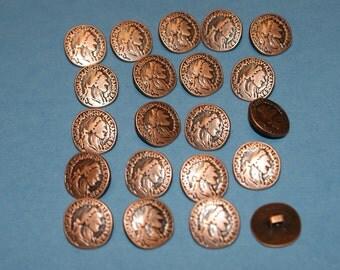 20 Fancy  Copper  look  Plastic Shank Buttons   Lot 37