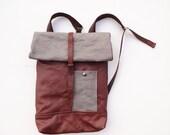 Canvas leather backpack vintage leather belt