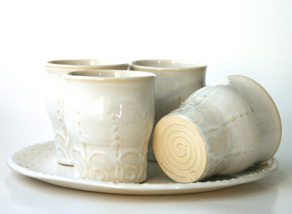 French Country Tea Cup Set - Creamy White with Henna Design Dinnerware - Set of Four - Ready to Ship