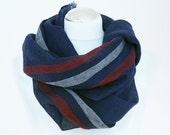 Scarf of pure airy linen blue with red and white  Summer fashion Ready to ship