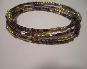 Purple and Gold Memory Wire Bracelet