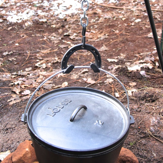 Campfire Tripod hook, double hooked for dutch oven bales / handles.