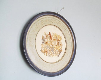 Prairie Cottage Chic Home Decor Stoneware Frame and Dried Flower Wall Hanging Blue Round Frame