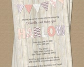 Bunting Baby Shower Invitation, shower invitation with wood background, digital, printable file