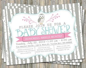 birch tree owl baby shower invitation, typography baby shower invitation, digital, printable file