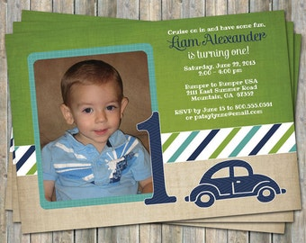 VW bug birthday invitation with picture, printable, digital file