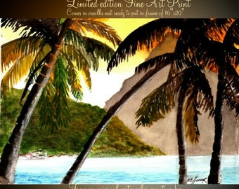 High quality limited edtion watercolor print of St Lucia by Nicolette Vaughan Horner