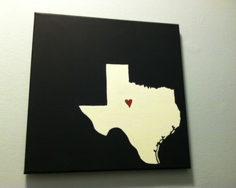"Texas Love Painting - 12x12"" canvas - Customized and hand painted"