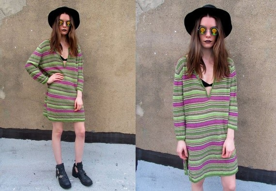 Striped See Through Sheer Grunge Green Purple Sweater Dress