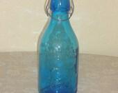 Vintage Thatchers Dairy Milk Bottle - Cobalt Blue Absolutely Pure Milk