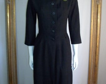 Vintage 1960's Black Asian Style 3/4 Length Tunic - Size 10