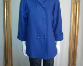 Vintage 1980's L.C. Mae Blue Wool Coat - Size Medium