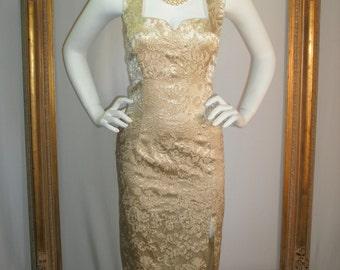 Vintage 1960's Gold Brocade Halter Evening Dress - Size 2