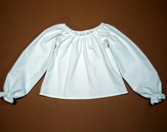 Girls Peasant Top Blouse White Long Sleeves Size 2T, 3T, 4T, 5, 6, 7, 8