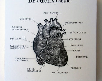 De Coeur a Coeur, From Heart to Heart French,Relief Print on Wood Panel, encaustic,anatomical heart, hand pulled print, original art