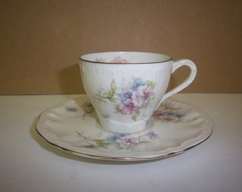 Vintage Teacup w/ Saucer by Theodore Haviland New York small pastel floral design