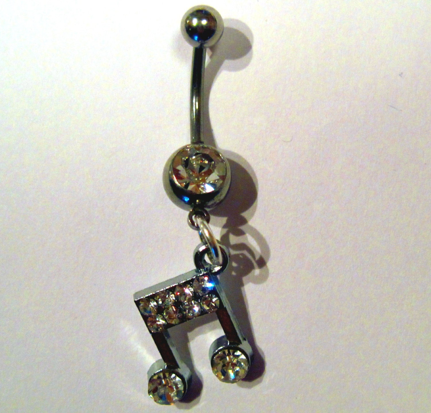 Belly Ring Navel Ring Clear Crystal Silver Tone Musical Note