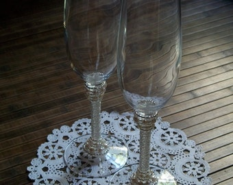 Pair of Crystal Champagne Flutes with silvery and pearl beading