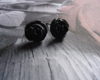 Deep Black Rose Polymer Clay Post Earrings Set On Titanium Post Size 10-11mm