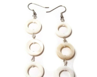 CLEARANCE..White Shell Circle Earrings