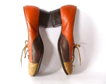 Vintage Shoes . 1960s Size 8 . Burnt Umber, Brown, and Tan Color Block Leather Shoes .