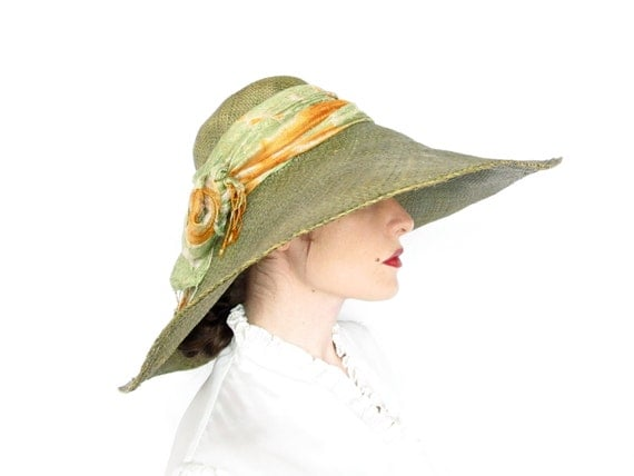 Vintage Extra Large Woven Straw Hat . Olive Green with Sage & Yellow Scarf