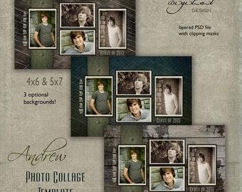 "Senior Photo Collage / Graduation  template for High School Seniors  (4x6) & (5x7)  ""Andrew"""