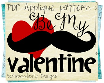 Mustache Valentine Applique Template - Mustache Applique Pattern / Valentines Day Baby Quilt / Nusery Wall Hanging / Love Kids Shirt AP169-D