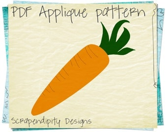 Carrot Applique Pattern - Easter Applique Template / PDF Nursery Easter Quilt / Kids Girls Clothing Top / DIY Bunny Wall Hanging AP183-D