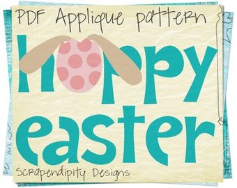 Easter Applique Pattern - Spring Applique Template / Easter Shirt / Kids Girls Clothing Tops / Infant Boys Clothes / Baby Quilt AP153-D