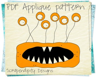 Monster Applique Pattern - Halloween Applique Template / Kids Space Shirt / Baby Nursery Wall Hanging / Raw Edge Applique Directions AP13-D