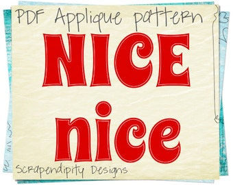 Nice List Applique Pattern - Christmas Applique Template / Baby Shirt Design / Kid Chistmas Clothing / Santa's List Toddler Applique AP135-D