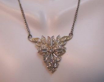 C1950 Victorian Styled Rhinestone Pendant Necklace