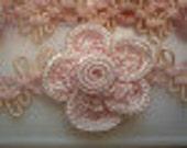 Flower Lace Trim Large Pink Rose 4 meters