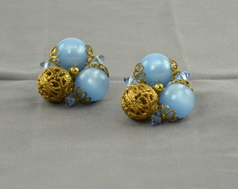 Blue Filigree Clip On Earrings