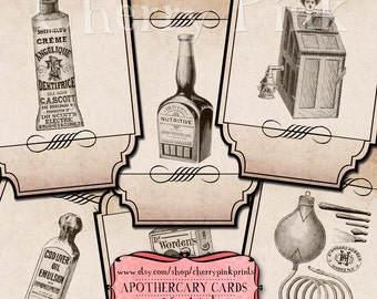 Digital APOTHECARY LABELS digital collage sheet, digital donwload, scrapbook supplies printable