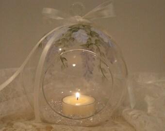 Tealight Glass Hanging Globe Hydrangea colored Wisteria