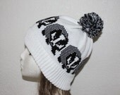 White Pompom Beanie Hat with Black Badgers