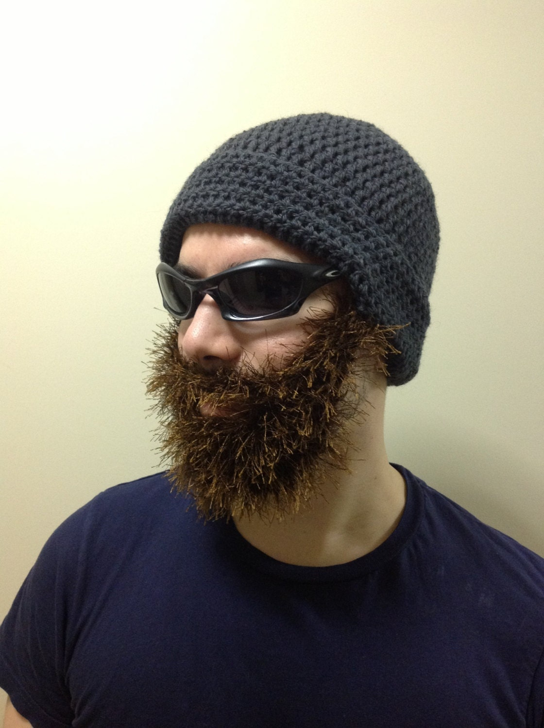 Handmade crochet beard hat beard beanie dark creamy hat with handmade crochet beard hat beard beanie dark gray hat with brown beard irish bankloansurffo Images