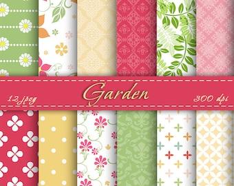 Garden Digital Paper -  Scrapbooking Paper Set, Spring  Digital Paper, Digital Downloads, Instant Download