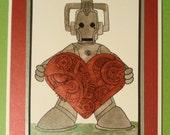 Dr Who Card Cyberman Birthday or Blank