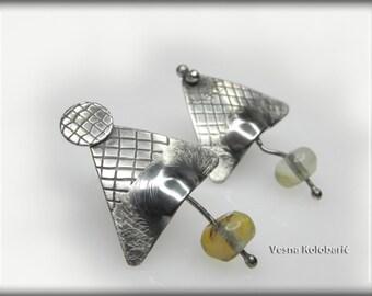 mismatched earrings, sterling silver earrings, modern jewelry, post stud earrings, gift