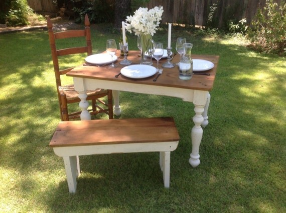 "The ""Petite"" Plantation Farm Table - Handmade with Reclaimed Wood by Arcadian Cottage"