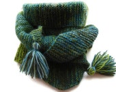 Free Shipping Knitted Scarf Bactus Triangle Shaped Green Blue Extra Warm Soft Mohair